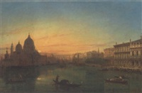 gondolas on the grand canal at sunset by william henry haines