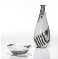 a bianca nera vase and bowl, for aureliano toso by dino martens