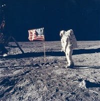 buzz aldrin poses for a photograph beside the us flag, apollo 11, july 1969 by neil armstrong