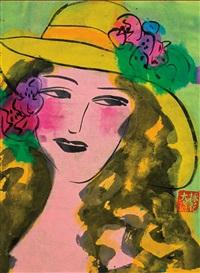 portrait de jeune fille avec un chapeau jaune by walasse ting