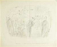group of 4 cartoon roughs about modern sculpture (4 works) by richard taylor