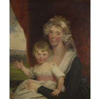 portrait of mrs. elwes and her daughter by john russell