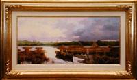cazadores en las marismas (hunter and dogs in a marsh landscape) by salvador caballero