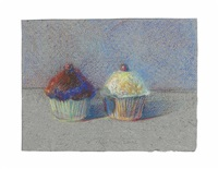 two cupcakes by wayne thiebaud