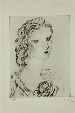 la jeune fille à la rose by léonard tsuguharu foujita