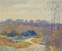 landscape with blue houses by william chadwick