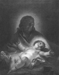joseph, das jesuskind auf dem schoß tragend by joseph melling