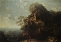 a mountainous landscape with travellers on a winding road by hans de jode
