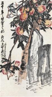 吴昌硕(1844-1927) 三千年结实之桃 by wu changshuo