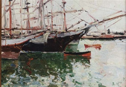 boats in a harbour by viacheslav korenev novorossiiskii