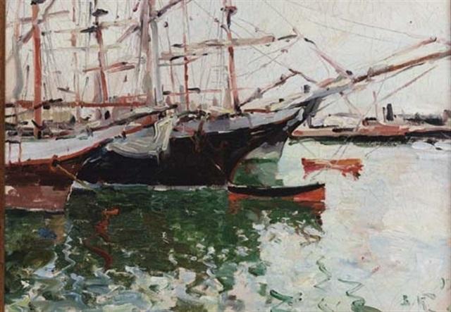 boats in a harbour by viacheslav korenev novorossiiskii