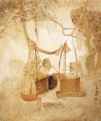 加香烤肉商贩 (satay sellers) by cheong soo pieng