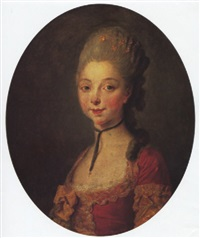 portrait a young lady, in a red dress with a gold bow, and a black choker by jean françois gilles colson