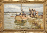 landing the catch - a yorkshire fishing scene by robert jobling