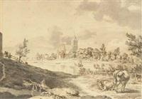 un paysage fluvial avec une église dans le fond et deux vaches au premier plan by hendrik hoogers