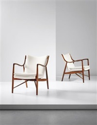 pair of early armchairs, model no. nv45 by finn juhl