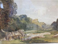 dunster castle and park, somerset, with deer by alexander carruthers gould