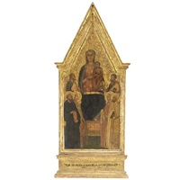 madonna col bambino in trono e santi by master of san lucchese