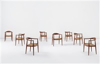 the round chairs, model no. jh 501 (set of 8) by hans j. wegner