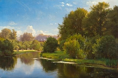 landscape with a stream by carl frederik peder aagaard