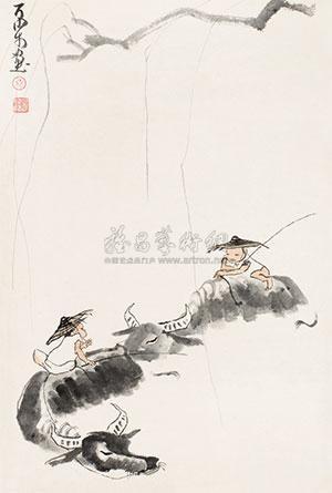 柳塘放牧图 by li keran
