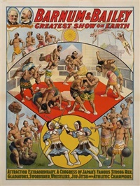 barnum & bailey/a congress of japan's famous strong men by posters: circus