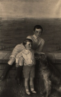 portrait of two brothers and their dog by ivan lindhe