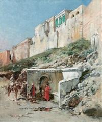 halte devant une fontaine by victor pierre huguet