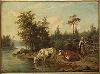 strand med kor och ungt bondfolk by nils anderson