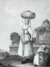 woman from venafro carrying a barrel by alessandro d' anna