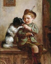 kleiner bub mit seinem hund by edmund adler