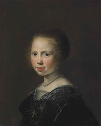 portrait of a girl, bust-length, in a black dress and pearl necklace by jan de bray
