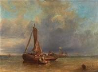 barque de pêcheurs by hippolyte benjamin adam