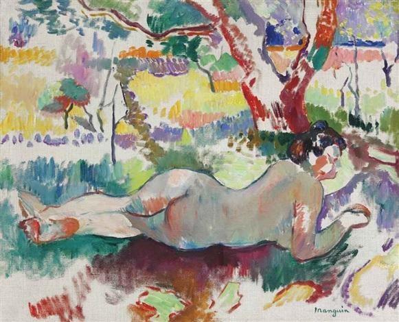 etude inversée, nu sous les arbres, villa demière by henri charles manguin