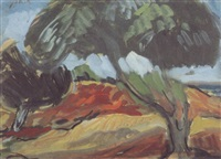 trees in a landscape by aharon avni