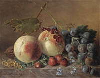 peaches, grapes, wild strawberries, red and white currants, forget-me-nots and a walnut on a marble ledge by adriana van ravenswaay