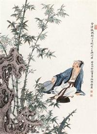 赏竹图 by ren zhong