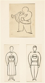 busman - entwurf von kostümen für das stück r.u.r. (+ 2 other designs for same, smllr; 3 works) by josef capek