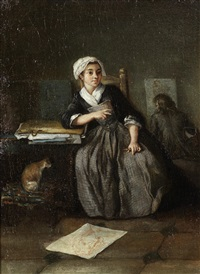 an interior with a young woman sketching; and an interior with a young man drawing (2 works) by etienne aubry