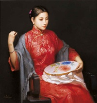 embroider (peony) by jiang changyi