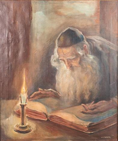 RABBI STUDYING TORAH BY CANDLELIGHT by Wilhelm Wachtel on artnet