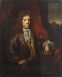 portrait of a gentleman, standing, three-quarter length, by a window by arnold boonen