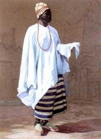africaine à la jupe rayée by louis eugène glasser