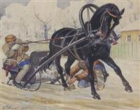 russische bauern beim einspannen des pferdeschlittens by mikhail ivanovich avilov