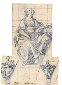 designs for pendentives with female figures representing contemplation and chastity by belisario corenzio