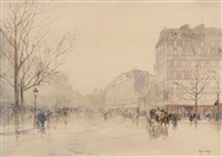 vue animée d'un boulevard parisien by francis garat