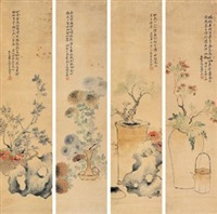 四季花卉图 (flowers of the four seasons) (in 4 parts) by jiang baoling