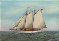 "the american fishing schooner ""clifton"" by o. nelson"