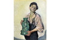 three quarters length portrait of an urchin boy holding a green jug by steven spurrier