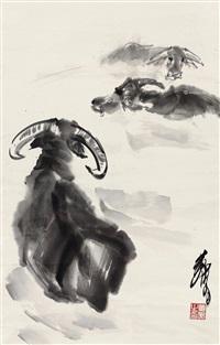 墨牛 镜片 水墨纸本 by huang zhou